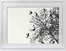 Fenster-Folie | Fenster-Bild - statisch haftende PVC Sticker | Glasdekor-Aufkleber Sticker für Fenster | einfach anzubringen - rückstandslos ablösbar | Fensterfolie 100 x 70 cm - Tree and Birds 2