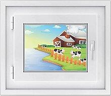 Fenster-folie für Kinderzimmer | hochwertiges Fensterbild - einfach anzubringen | selbstklebender Fenstersticker - Glasdekorfolie für Fenster und Spiegel | DIY | Design Cowfarm 2 - 40 x 30 cm