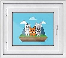 Fenster-folie für Kinderzimmer | hochwertiges Fensterbild - leicht anbringbar | selbstklebender Fenstersticker - Glasdekorfolie für Fenster und Spiegel | DIY | Fensterfolie 50 x 40 cm - Zootiere