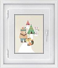 Fenster-folie für Kinderzimmer | hochwertiges Fensterbild - leicht anbringbar | selbstklebender Fenstersticker - Glasdekorfolie für Fenster und Spiegel | DIY | Fensterfolie 30 x 40 cm - Indianerwel