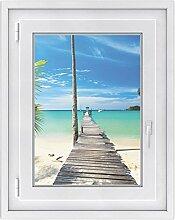 Fenster Folie - selbsklebendes Fensterbild | hochwertige Glasdekor-folie - individueller Fenstersticker | Fenster-Deko für Bad und Küche | Fensterfolie 50 x 70 cm - Motiv Blue Water
