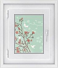 Fenster Folie - selbsklebendes Fensterbild | hochwertige Glasdekor-folie - individueller Fenstersticker | Fenster-Deko für Bad und Küche | Fensterfolie 30 x 40 cm - Design Blütenzauber