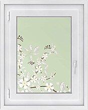 Fenster Folie - selbsklebendes Fensterbild | hochwertige Glasdekor-folie - individueller Fenstersticker | Fenster-Deko für Bad und Küche | Fensterfolie 50 x 70 cm - Motiv White Blossoms