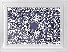 Fenster-folie | selbstklebende Glasdekorfolie - Fensterbild für Küche u. Bad | hochwertige Klebefolie für Fenster im Wohnzimmer u. Schlafzimmer | Fensteraufkleber | Design Blue Mandala - 100 x 70 cm