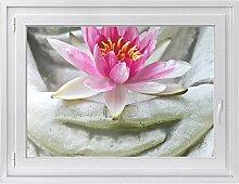 Fenster-folie | selbstklebende Glasdekorfolie - Fensterbild für Küche / Bad | hochwertige Klebefolie für Fenster im Wohnzimmer u. Schlafzimmer | Fensteraufkleber | Design Flower Buddha - 100 x 70 cm