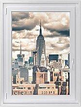 Fenster-folie | selbstklebende Glasdekorfolie - Fensterbild für Küche u. Bad | hochwertige Klebefolie für Fenster im Wohnzimmer u. Schlafzimmer | Fensteraufkleber | Design Skyline NYC - 70 x 100 cm