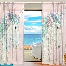 Fenster Gardinen Einhorn Mit Blume Dekoration für