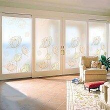 Fenster-Glasfilm Anti-Elektrostatische Folie durch einfaches Wohnzimmer Bürotür Fenster Papier, mit Klebefolie, 58Cm breit * 60Cm groß