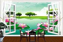 Fenster Lotus 3D Tapeten -300Cmx220Cm Grüne Natur
