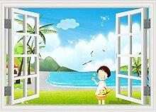 Fenster Mädchen 3D Tapeten -200Cmx140Cm
