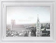 Fenster Sichtschutz-folie - Premium Fensterbild   Glasdekor-folie für Spiegel und Fenster  hochwertiges Design - einfach anzubringen   selbstklebende Fensterdeko   Design 089 München - 100 x 70 cm