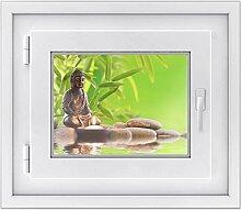 Fenster Sichtschutz-folie - Premium Fensterbild | Glasdekor-folie für Spiegel und Fenster |hochwertiges Design - einfach anzubringen | selbstklebende Fensterdeko | Design Buddha Zen - 40 x 30 cm