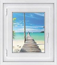 Fenster Sichtschutz-folie - Premium Fensterbild | Glasdekor-folie für Spiegel und Fenster |hochwertiges Design - einfach anzubringen | selbstklebende Fensterdeko | Design Blue Water - 40 x 50 cm