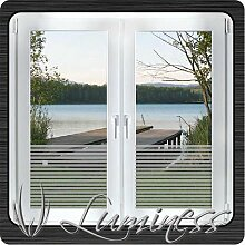Fenster - Sichtschutzfolie - Dekor S1 farblos - 125 cm x 50 cm - auf Fixierfolie - von Luminess - Made in Germany