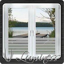 Fenster - Sichtschutzfolie - Dekor S3 farblos - 75 cm x 45 cm - auf Fixierfolie - von Luminess - Made in Germany