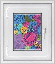 Fenster-Sticker | selbstklebende Fensterfolie - dekorativer Sichtschutz | hochwertige Glasdekorfolie - Klebefolie für Fenster in Küche, Bad und Wohnzimmer | Design Colorful Flowers - 30 x 40 cm