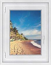 Fenster-Sticker   selbstklebende Fensterfolie - dekorativer Sichtschutz   hochwertige Glasdekorfolie - Klebefolie für Fenster in Küche, Bad und Wohnzimmer   Fensterfolie 50 x 70 cm - Longboat Beach
