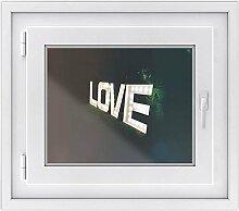 Fenster-Sticker   selbstklebende Fensterfolie - dekorativer Sichtschutz   hochwertige Glasdekorfolie - Klebefolie für Fenster in Küche, Bad und Wohnzimmer   Fensterfolie 50 x 40 cm - Design L.O.V.E.