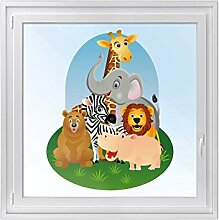 Fenster-Tattoo - dekorative Sichtschutzfolie für Fenster in Kinderzimmer   schöne Fensterfolie - selbsthaftende Glasfolie   einfach anzubringende Fensterdeko   Design Wild Animals - 79 x 100 cm