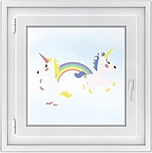 Fenster-Tattoo Folie - Kinderzimmer-Fenster dekorieren | selbstklebendes Fensterbild - individuelle Glasdekorfolie | dekorativer Fenster-sticker Tattoo-Aufkleber | Design Einhorn-Party - 50 x 36 cm
