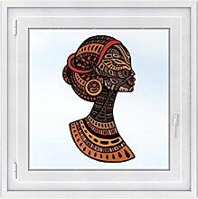Fenster-Tattoo Sichtschutz-folie - Premium Fensterbild | Glasdekor-folie für Spiegel u. Fenster |hochwertiges Design | selbstklebende Fensterdeko - DIY | Fenstertattoo 40 x 70 cm - Mama Afrika