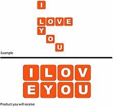 Fenster Wand Auto Fancy Romantic Buchstaben-Set I Love You (30cm x 60cm) wählen Sie Farbe 18Farben auf Lager Badezimmer, Childs Schlafzimmer, Kinder Zimmer Aufkleber, Auto Vinyl-, Windows und Wandtattoo, Wall Windows Art, Decals, Ornament Vinyl Sticker ThatVinylPlace Orange