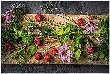 Fenster Wandbild Blumen Raspberry mint Fenster