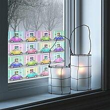 Fenster Wandbild Bunte Käfer Mix Fenster Aufkleber Fensterfolie Fenster Tattoo Glas Aufkleber Fenster Kunst Fenster Décor Fenster, Dekoration, Dimension HxB: 108cm x 162cm