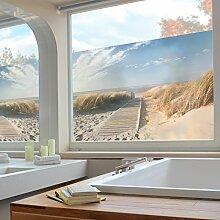 Fenster Wandbild Ostsee Strand Fenster Aufkleber Fensterfolie Fenster Tattoo Glas Aufkleber Fenster Kunst Fenster Décor Fenster Dekoration, Maße: 21cm x 31cm
