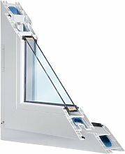 Fenster weiss 2-fach verglast 114x115 (BxH) kipp- und drehbar (DK-links) als Maßanfertigung