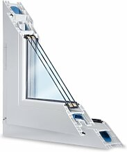 Fenster weiss 3-fach verglast 85x55 (BxH) kipp- und drehbar (DK-links) als Maßanfertigung