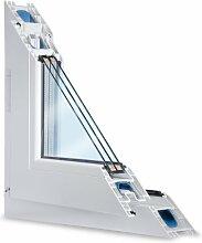 Fenster weiss 3-fach verglast 88x87 (BxH) kipp- und drehbar (DK-links) als Maßanfertigung