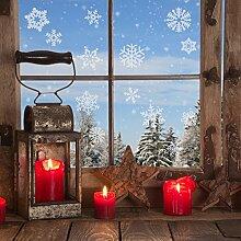 Fensteraufkleber 21 Schneeflocken Schneekristalle Fensterdekoration Winter Winterzauber Fensterbild Schneeflöckchen Sticker Aufkleber weiß