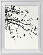 Fensteraufkleber - dekorative Fenster-Folie | Sichtschutzfolie für Fenster im Badezimmer und WC - hochwertiges Fensterbild | einfach anzubringen - DIY | Fensterfolie 90 x 120 cm - Tree and Birds 1