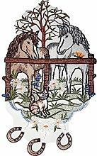 Fensterbild 21x38 Plauener Spitze Stickerei Pferde