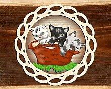 Fensterbild Frühling - 3 Katzen im Korb -