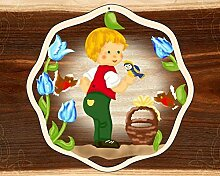 Fensterbild Frühling Junge mit Vögelchen -
