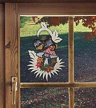 Fensterbild für den Herbst RABE MIT PILZ 17 x 26