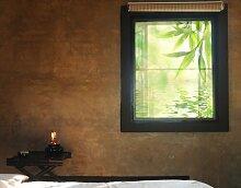 Fensterbild Green Ambiance I Wasser Pflanze Spiegel Blätter Natur Fenstersticker Fensterfolie Fensteraufkleber Fenstertattoo Glas-Sticker Fensterdeko Fensterdekoration Größe: 216cm x 144cm