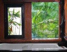 Fensterbild Green Ambiance II wasser pflanze tropfen blätter natur Fenstersticker Fensterfolie Fensteraufkleber Fenstertattoo Glas-Sticker Fensterdeko Fensterdekoration Größe: 162cm x 108cm