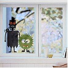 Fensterbild Halloween Monster (45 cm x 50 cm), Aufkleber für Fenster oder Glas, in 3 verschiedenen Größen, für Wohnung oder Kinderzimmer, Fenstersticker wiederverwendbar! Wandmotive.de