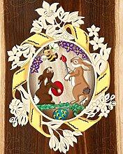 Fensterbild Ostern Frühling - Häschen b.Eier