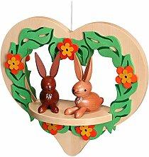 Fensterbild Ostern Herz hängend, mit Hasen farbig