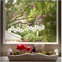 Fensterbild Osterzweig, stilvolle Oster-Deko für