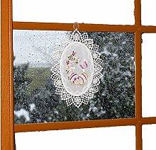 Fensterbild Plauener Spitze Voile Ostern Stickerei