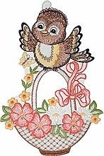 Fensterbild Plauener Stickerei Vogel mit