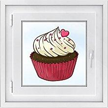 Fensterbild - schönes Fenster Tattoo | hochwertige Klebefolie für Küche u. Bad-Fenster - selbsthaftende Fensteraufkleber | Fensterdeko - Made in Germany | Fenstertattoo 35 x 40 cm - Sweet Muffin