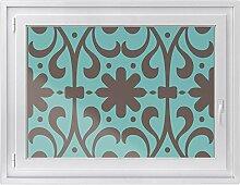 Fensterbild - selbsthaftende Fenster-folie | dekorative Glasdekorfolie für Küche u. Bad | Individueller Fensteraufkleber - einfach anzubringen | Fensterfolie 100 x 70 cm - Design Ornament Dark 1