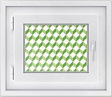 Fensterbild - selbsthaftende Fenster-folie | dekorative Glasdekorfolie für Küche u. Bad | Individueller Fensteraufkleber - einfach anzubringen | Fensterfolie 40 x 30 cm - Design 3D Cubes - Grün