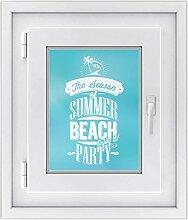 Fensterbild - selbsthaftende Fenster-folie | dekorative Glasdekorfolie für Küche u. Bad | Individueller Fensteraufkleber - einfach anzubringen | Fensterfolie 30 x 40 cm - Motiv Summer Beach
